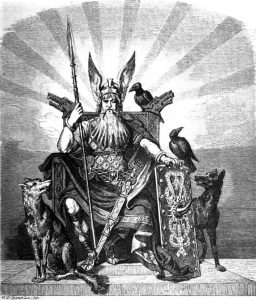 Odin, tahtında, kuzgunları ve iki kurduyla
